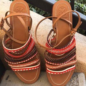 Tony Burch sandals orange & brown